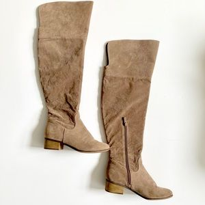 Tan Suede Over The Knee Boot